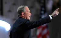 Former New York Mayor Michael Bloomberg points as he takes the stage to speak during the third day of the Democratic National Convention in Philadelphia , Wednesday, July 27, 2016. (AP Photo/Mark J. Terrill)