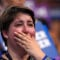A supporter cries while listening to former Democratic Presidential candidate, Sen. Bernie Sanders, I-Vt., speak during the first day of the Democratic National Convention in Philadelphia , Monday, July 25, 2016. (AP Photo/Mark Terrill)