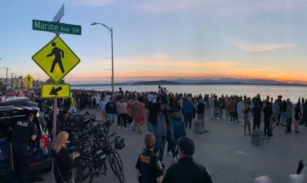 Police were at Alki Beach on May 29, 2021, to monitor an unusually large group. Multiple fights bro...