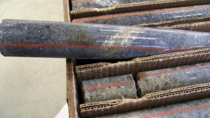 FILE - In this Oct. 4, 2011, file photo, a core sample drilled from underground rock near Ely, Minn...