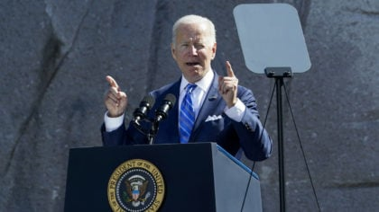 President Joe Biden speaks during an event marking the 10th anniversary of the dedication of the Ma...