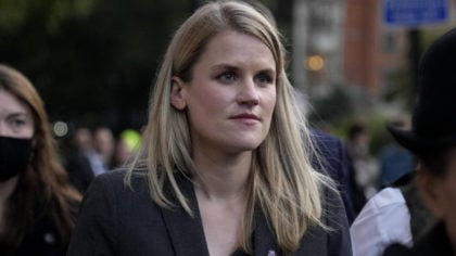 Facebook whistleblower Frances Haugen leaves after giving evidence to the joint committee for the D...