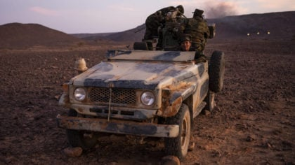 Polisario Front soldiers during a shooting exercise, near Mehaires, Western Sahara, Wednesday, Oct....