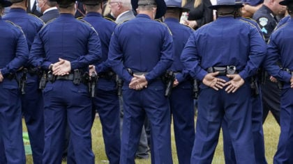 FILE - In this Friday, Sept. 25, 2020 file photo, troopers gather during the burial services for Lo...