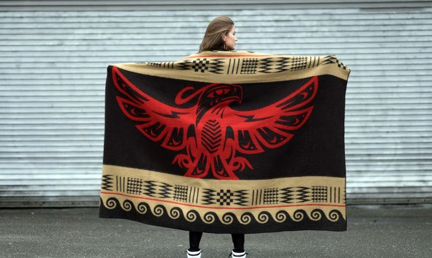 The first 8th Generation blanket being produced features a Thunderbird, in honor of the Evergreen S...